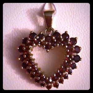 New - Sterling Silver, Gold Plate with Real Garnet